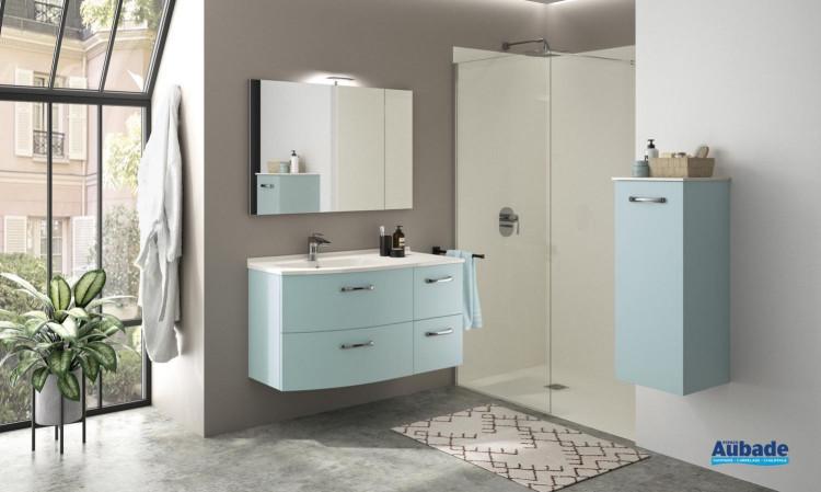 Meuble de salle de bains Elio avec 4 tiroirs coloris Fjord et plan vasque artic brillant de Ambiance Bain