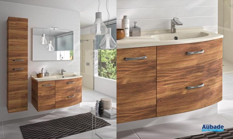 Meuble de salle de bains Elio avec 2 tiroirs et 1 porte coloris Burano et plan vasque nougat de Ambiance Bain