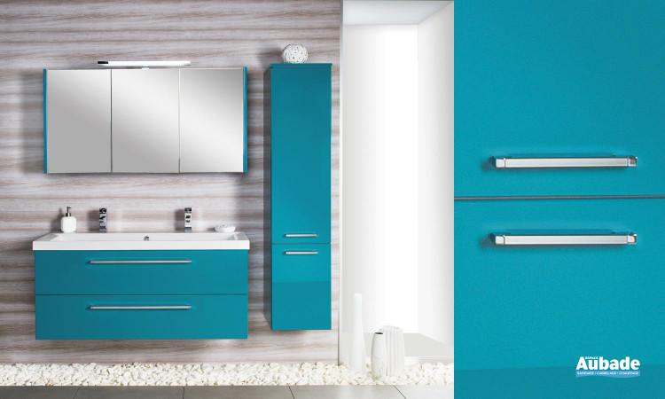 meuble turquoise laqué avec plan vasque en marbre, miroir et armoire de toilette Cedam Gloss