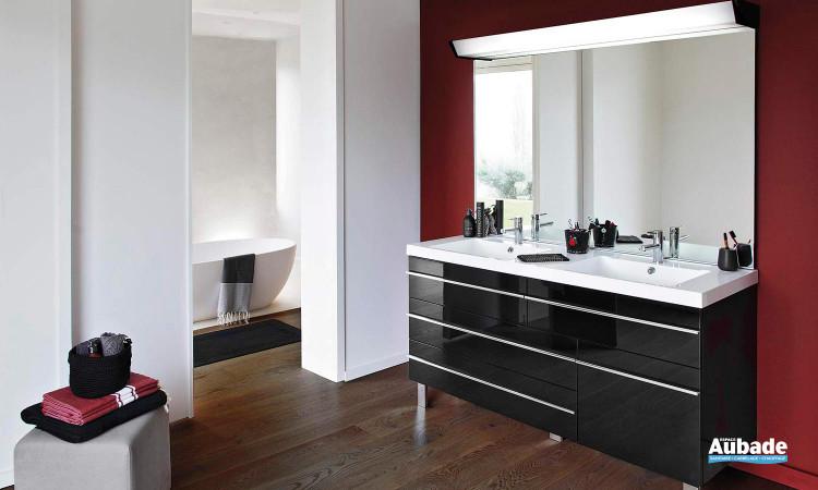 meuble double vasque laqué et rangements Decotec Rivoli