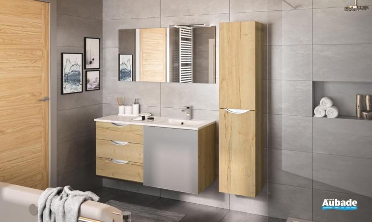 Meuble 3 tiroirs et 1 porte coulissante Slide coloris chêne brut naturel et porte gris galet extra-mat de Decotec