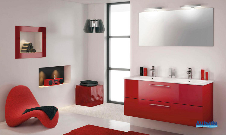 Meuble façade rouge, plan double vasque céramique Delpha Graphic 123