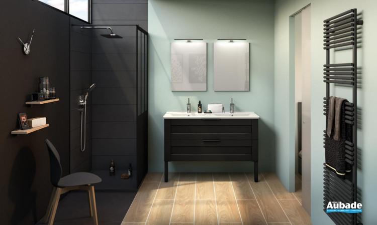 Meuble de salle de bains Kami avec plan double vasquecéramique et coloris cadre noir mat de Delpha