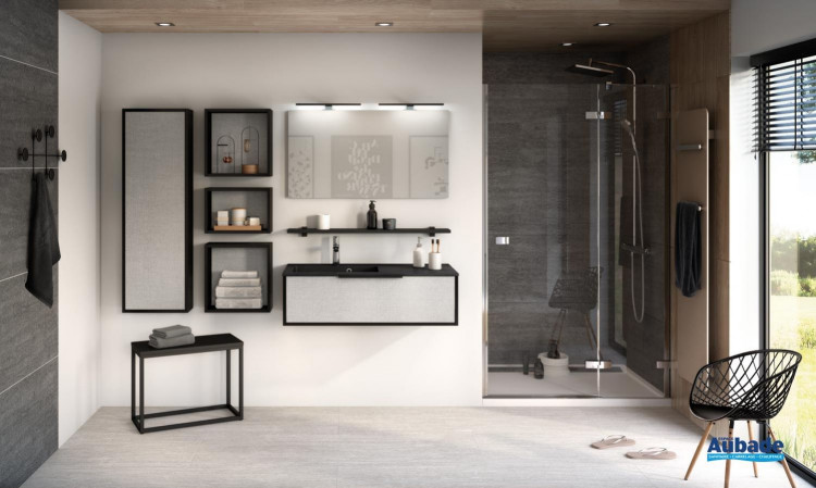 Meuble de salle de bains 1 coulissant Ultra Cadra largeur 100 cm coloris façade tissé gris structuré et corps de meuble noir mat de Delpha