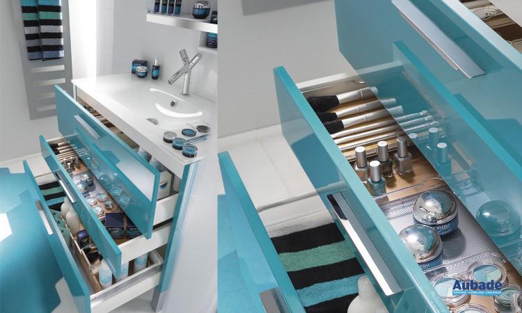meubles sous vasque façades glossy laquées bleu, 3 rangements Delpha Unique 90 cm