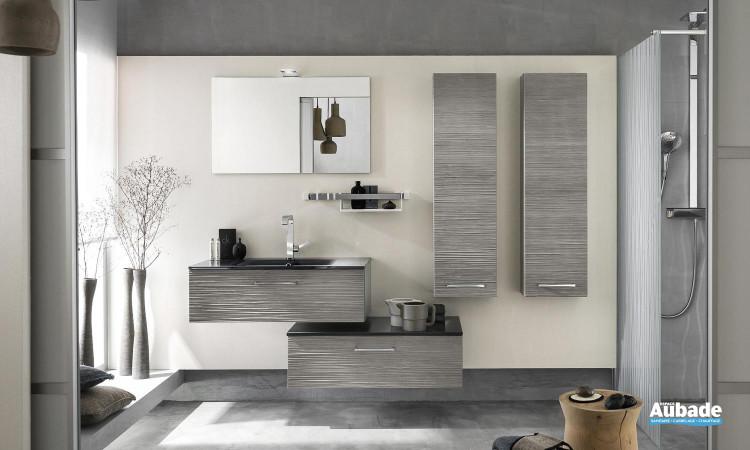 ensemble meuble sous-vasque 1 niveau en chêne gris ondulé, plan vasque graphite  verre métal brillant, un miroir applique LED et deux colonnes Delpha Unique 90