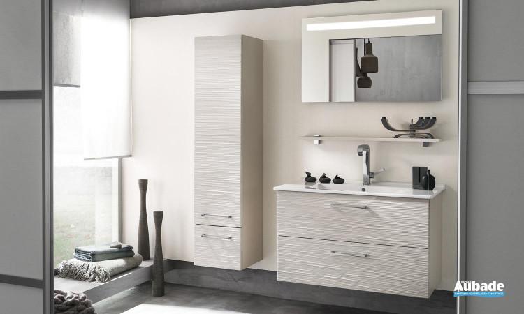 miroir lumière intégrée, meuble sous-vasque 2 niveaux de rangement, vasque en céramique blanc Delpha Unique 93