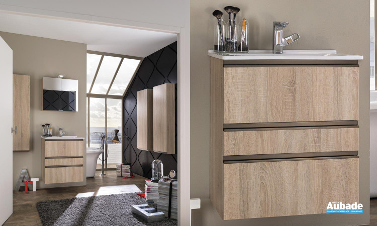 ensemble meuble sous-vasque 3 rangements avec plan vasque céramique et armoire de toilette 2 portes décor chêne scié Delpha Unique 63