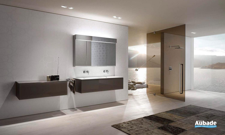 ensemble vasque en céramique, armoire de toilette et miroir Keuco Edition 11