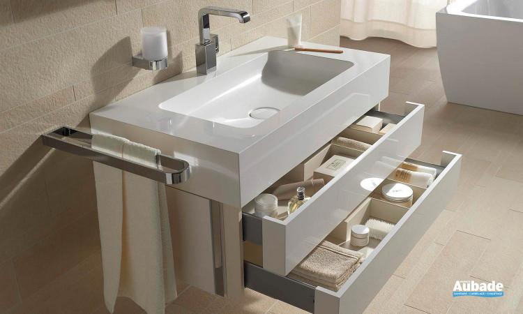ensemble meuble sous-vasque deux tiroirs et vasque ne fonte minérale Keuco Edition 300