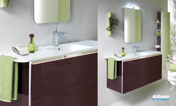 ensemble 110 cm miroir arrondi, meuble suspendu 2 tiroirs et vasque et plan de toielttes Solid Surface Collection Duo Lido