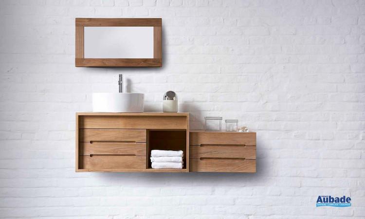 meuble vasque en bois et miroir modèle Cube Line Art