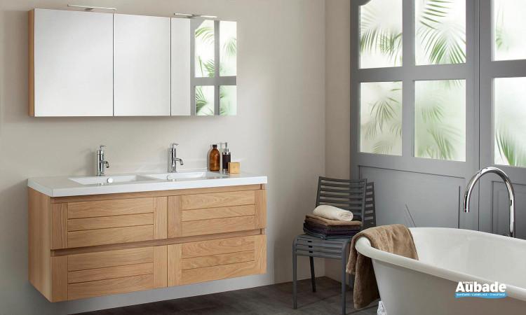 ensemble Lignum de Sanijura avec armoire de toilette, miroir, meuble sous-table en chêne et table en céramique