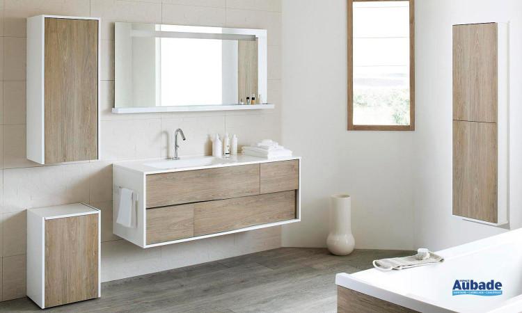 ensemble My Lodge de Sanijura laqué blanc et chêne clair, table marbre meuble sous-table et miroir