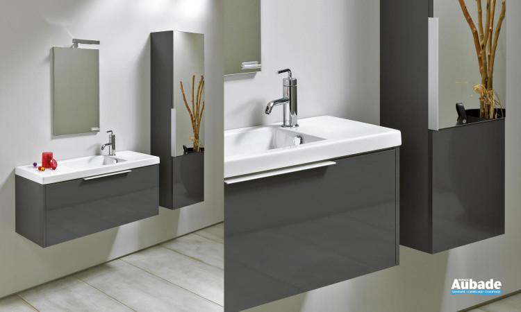 meuble profondeur 35 cm gris anthracite 1 tiroir, table en céramique et miroir éclairage Sanijura Xs