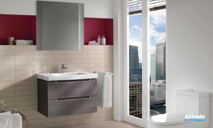 ensemble meubles sous vasque 2 tiroirs sur rails et miroir éclairant Villeroy et Boch Subway 2.0