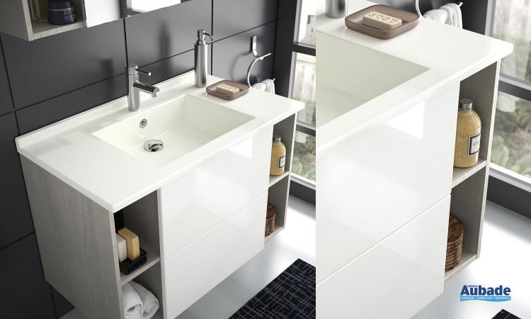 Meuble sous-vasque avec vasque en SMO Open coloris corps de meuble météor et façade blanc brillant de Ambiance Bain