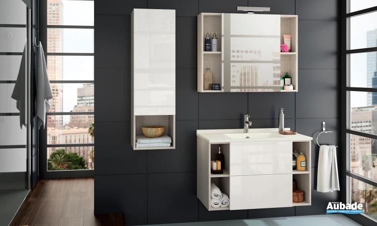 Meubles de salle de bain coloris météor et blanc brillant de la gamme Open proposé par la marque Ambiance Bain