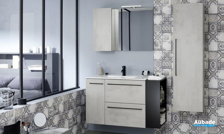 Meuble de salle de bains avec 2 tiroirs et 1 porte coloris béton gris de la gamme Impact 2 par Sanijura