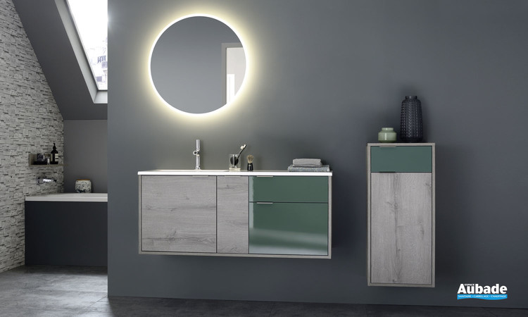 Meuble de salle de bain Loggia coloris Chêne héritage et laque brillante Eucalyptus par Sanijura