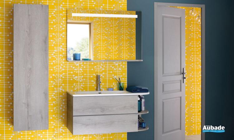Meuble de salle de bains Morena avec colonne 1 porte coloris chêne héritage de Sanijura