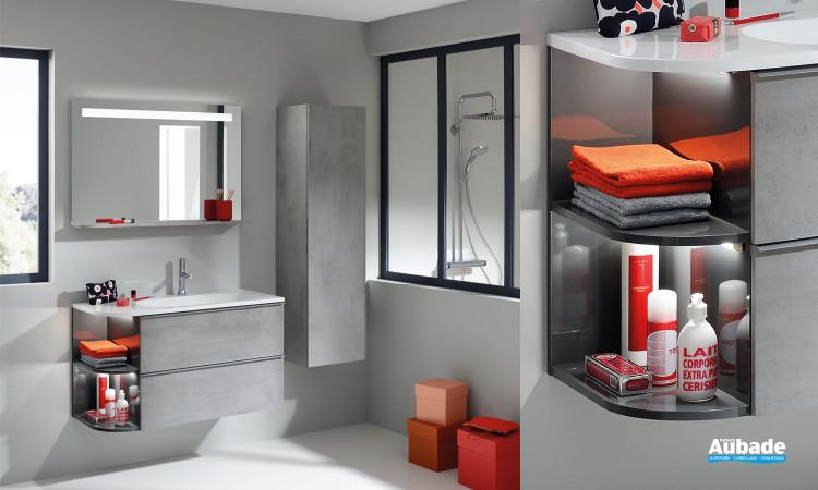 Meuble sous-vasque et plan vasque arrondi Morena coloris béton gris de Sanijura