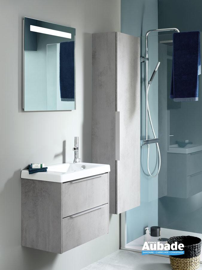 Meuble XS 2 tiroirs avec vasque en céramique et sa colonne assortie de la marque Sanijura