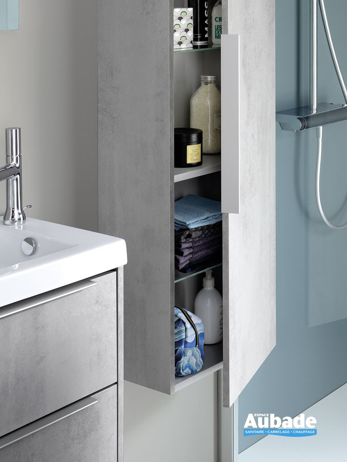 Meuble XS coloris Béton gris avec colonne suspendue de la marque Sanijura