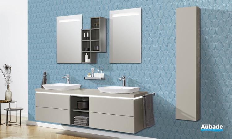 Meuble de salle de bains Vogue avec plateau bandeau LED et vasque à poser coloris gris tourterelle de Vigour