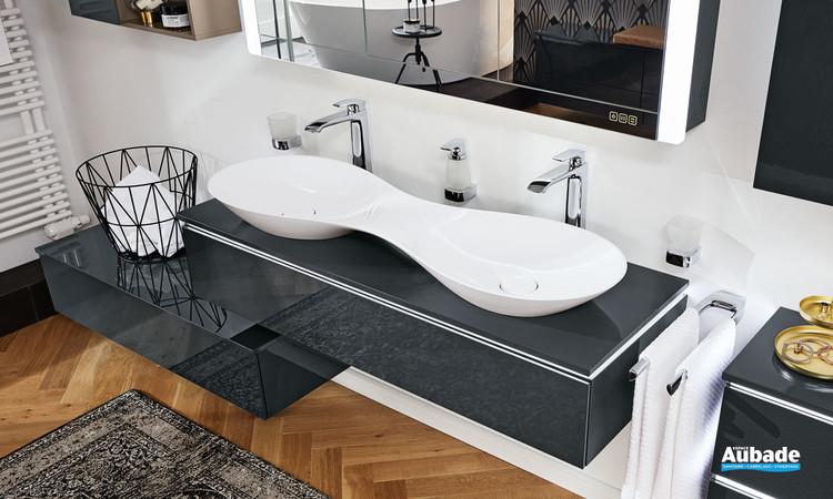 Vasque double à poser en minéral composite blanc de la gamme Vogue par Vigour
