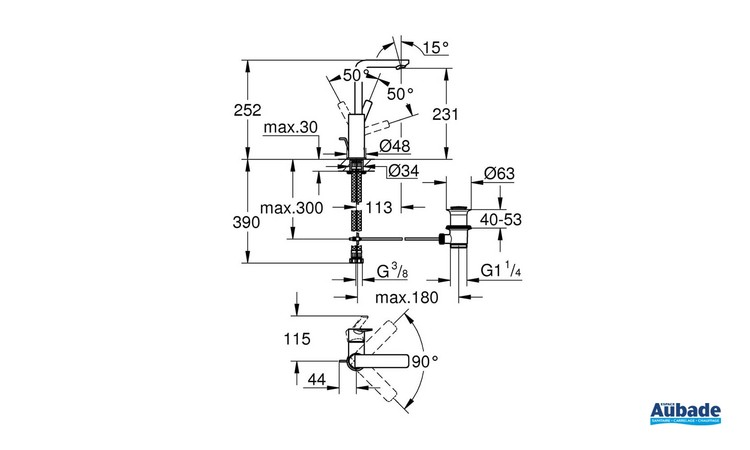Mitigeur monocommande Lavabo Taille L Lineare Chromé schéma