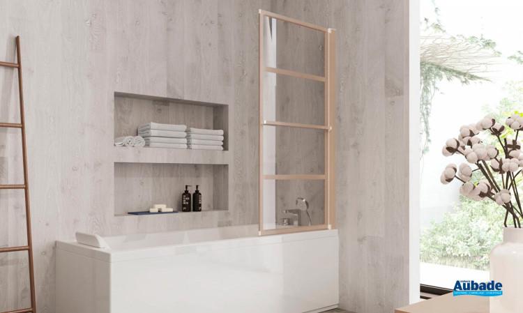 Pare-bain relevable Zen-Pur finition aluminium effet bois par Jacuzzi