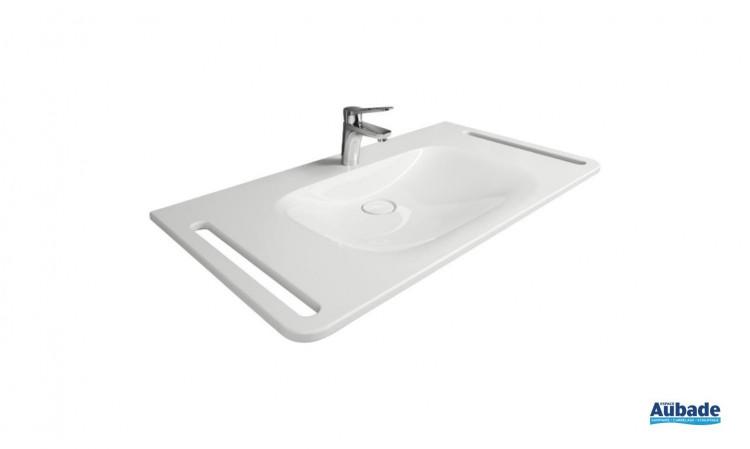 Plan de toilette en pierre de synthèse accessibilité PMR Derby Style coloris blanc de Vigour