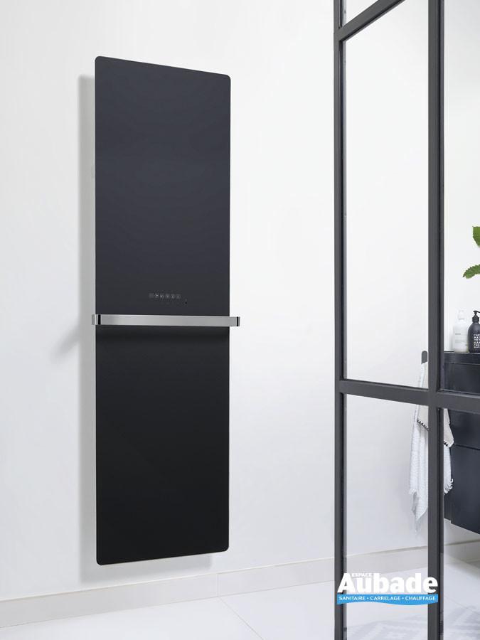 Sèche-serviettes électrique Claris avec façade en verre coloris Noir brillant par Acova
