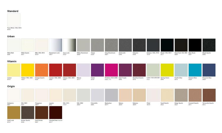 Nuancier Acova 50 coloris pour le radiateur sèche-serviettes Ouvea de la marque Acova