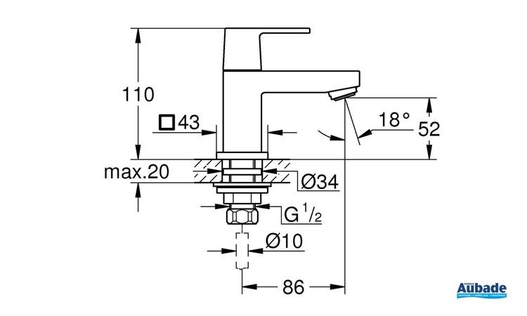 Robinet de lave-mains Taille XS Eurocube Chromé de Grohe - Schéma