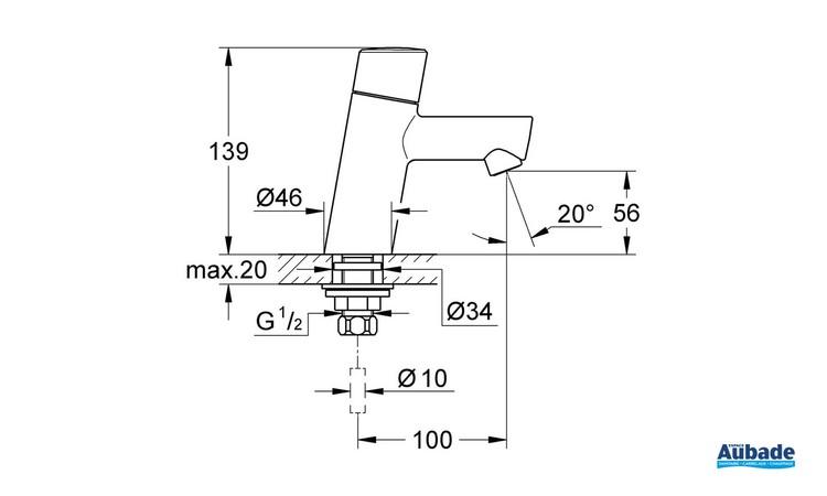 Robinet de lave-mains Taille XS Concetto Chromé de Grohe - Schéma