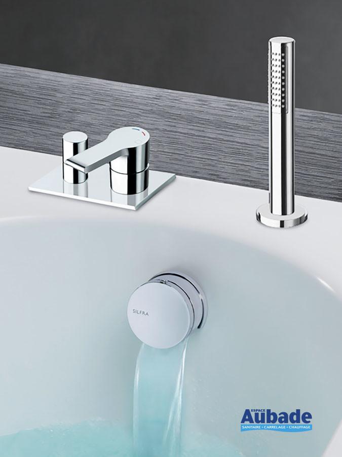 Pack robinet mitigeur encastré bain/douche chromé avec remplissage par le vidage Delta par Cristina