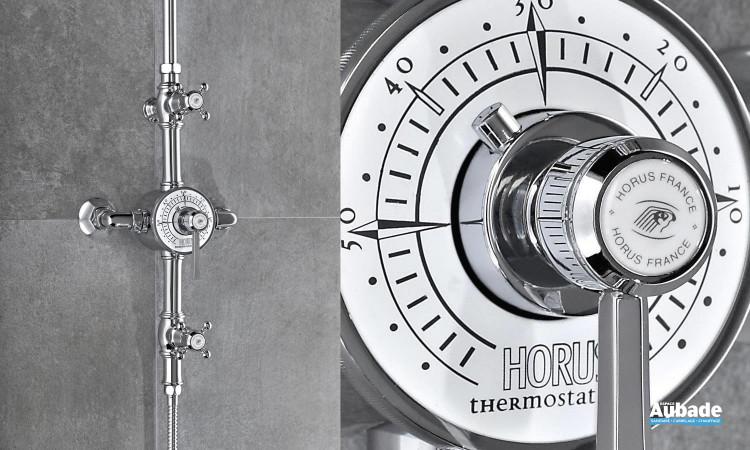 Colonne de douche Ascott de Horus en plusieurs finitions: chrome, nickel brillant, nickel mat, polishbrass, doré et vieux bronze