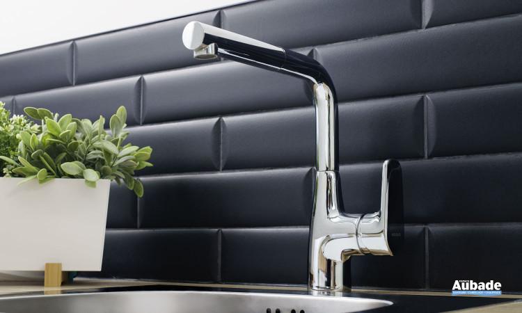 Mitigeur bec haut carré avec douchette extractible Derby Style pour évier de cuisine finition chromé de la marque Vigour