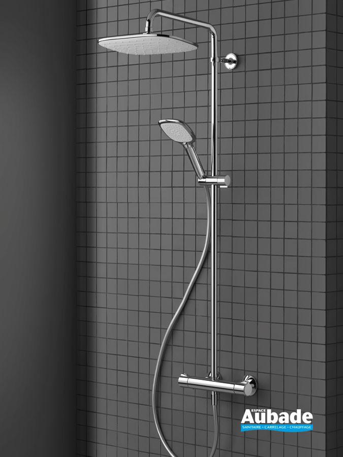 Colonne de douche Theta Bianco de Cristina avec mitigeur thermostatique, douche de tête et douchette