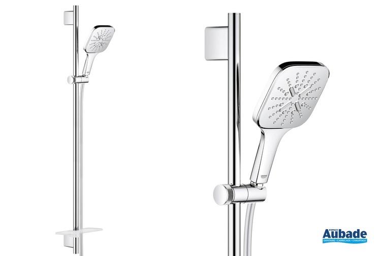 Ensemble de douche complet avec douchette carrée Rainshower SmartActive de Grohe