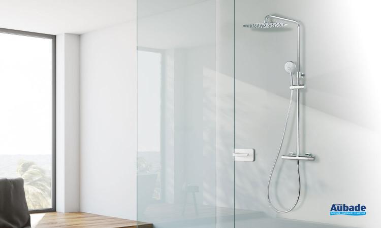 Colonne de douche Caledonia de Ramon Soler avec mitigeur thermostatique, douche de tête et douchette