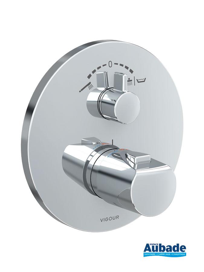 Façade thermostatique Clivia pour pack encastré de douche finition chromé de la marque Vigour