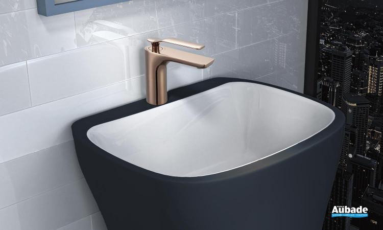 Mitigeur lavabo bas Addict de Paini France en PVD Gold Rose
