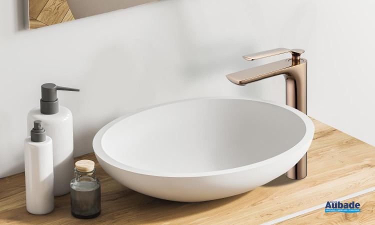 Mitigeur lavabo haut Addict de Paini France en PVD Gold rose
