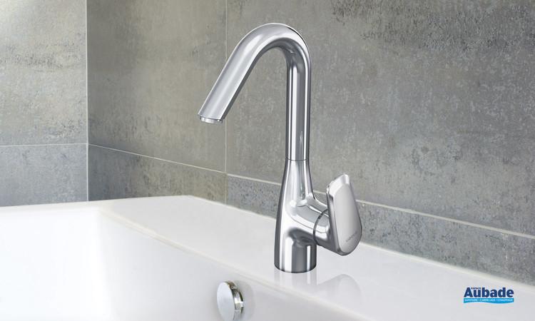 Robinet mitigeur haut avec vidage Derby Style coloris chromé pour lavabo et vasque par Vigour