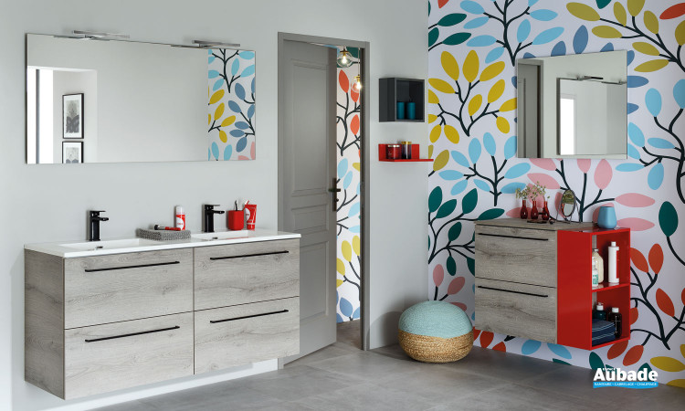 Meuble de salle de bains 4 tiroirs avec double vasque coloris mélaminé chêne héritage de la gamme Impact 2 par Sanijura