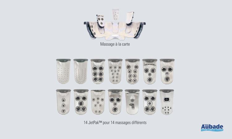 Système de massage amovible et interchangeable permettant de personnaliser son spa à l'infini