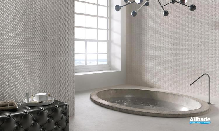 Collection Palomastone Wall par Tau Ceramica en décors RLV Via Silver et RLV Neo Silver